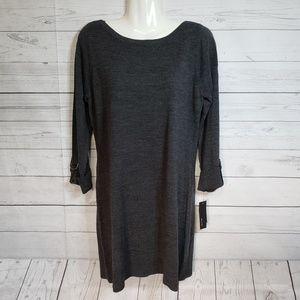 Alyx Charcoal Grey Boat Neckline Tunic Sweater M